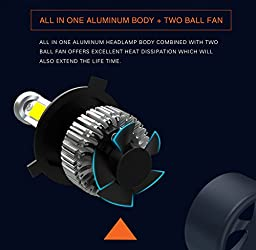 Alla Lighting 8000lm Xtremely Super Bright 6500K Xenon White High Power Mini 9012 HIR2LL LED Headlight Bulb Conversion Kits Lamps Replacement (9012)