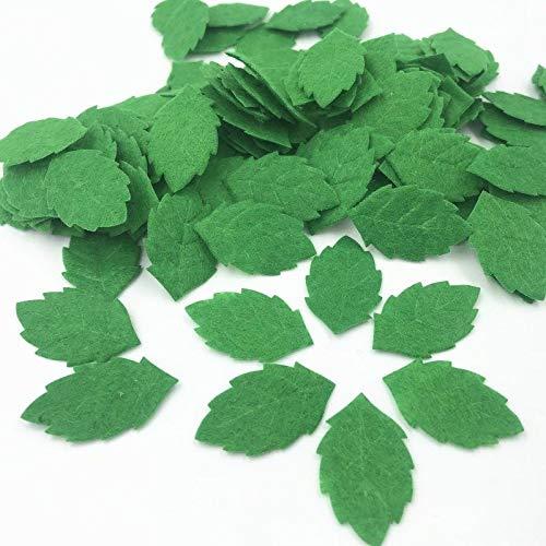 Maslin 100pcs Green Leaves-Shape Felt Card Making Decoration Sewing Crafts 30mm