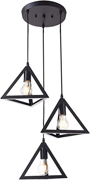 Rustic Black Metal Cage Shade Dining Room Industrial Pendant Light Triangle Chandelier with 3 E26 Bulb Sockets 120W Painted Finish Metal Fixture Geometric for Kitchen Living Room Bedroom Hallway Bar