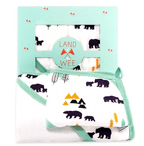 Bamboo Hooded Bath Towel & Washcloth Set, For Baby to Toddler Boys and Girls, Land of the Wee