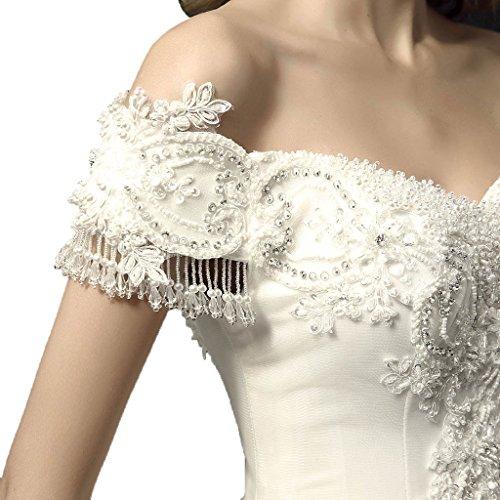 Orifashion apagado hombro apliques de encaje con cuentas novia de novia (