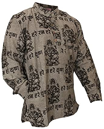 Shopoholic Fashion Mens Light Weight Festive Hippie Shirt (4XL,Grey)