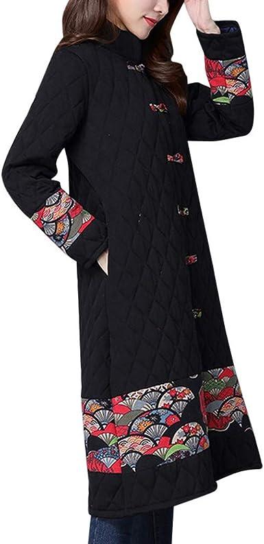 Poachers Chaquetas Mujer Hippies Abrigo de algodón con Costuras ...