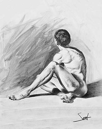 Charcoal Figure Drawing, Nude Art, Naked Man Art, Erotic Art, Erotic, Nude Model, Male Figure Drawing by SignedSweet