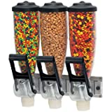 Server Products DPD-86660 Dry Food Wall-Mount Dispenser, Triple, (3) 2 L Bottle Capacity, Clear/Black