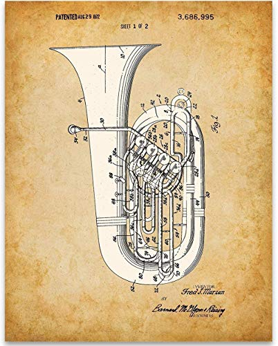 Tuba Patent - 11x14 Unframed Patent - Perfect Music Room Decor and Great Gift Under $15 for Band Director, Musician