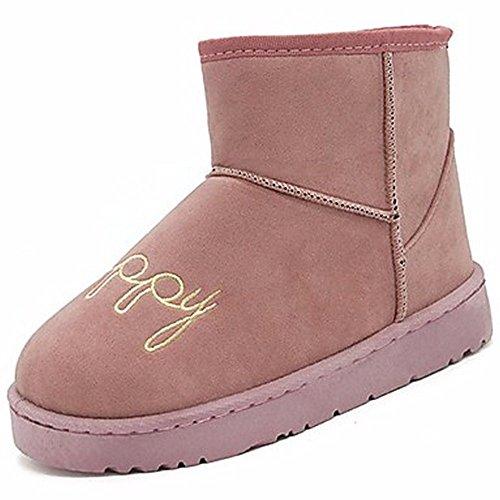 Rond À Rose Noir Bottes Caoutchouc Chaussures Rose D'extérieur D'hiver Gris Pour Neige De En Bottes Bout Zhudj Femmes Gris 6fqwn8Av