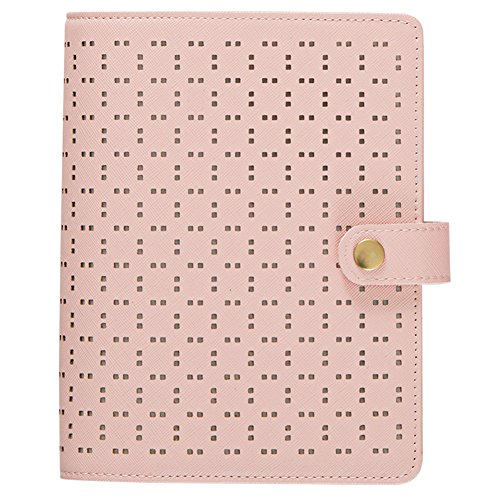 Labon's 6 Round Ring A5 Beige Binder Button Hollow Filofax Planner with 2018 2019 2020 Calendar/Monthly Weekly Daily Schedule/Telephone & Address/Personal Memo 122 Sheet Premium Thick Paper
