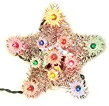"""6"""" Lighted Silver Tinsel Star Christmas Tree Topper - Multi Lights"""