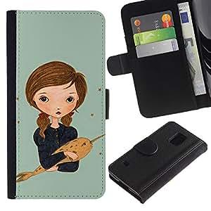 For Samsung Galaxy S5 V SM-G900,S-type® Narwhal Dream Painting Art Girl - Dibujo PU billetera de cuero Funda Case Caso de la piel de la bolsa protectora