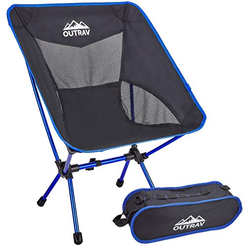 Outrav Portable Folding Camping Chair – Collapsible Accordion Aluminum Frame, Roll Up Washable Cloth Seat - Drawstring Carrying Case – Lightweight, Heavy Duty 300 lb Capacity