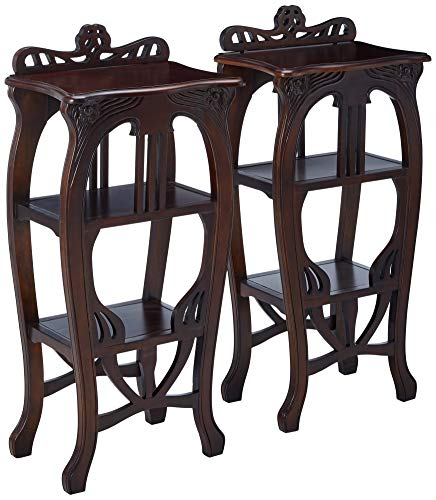 Design Toscano Mahogany Art Nouveau Harp Side Table: Set of Two, Cherry