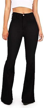 Amazon Com Garmoy Pantalones Vaqueros Para Mujer Cintura Ancha Color Negro 10 Clothing