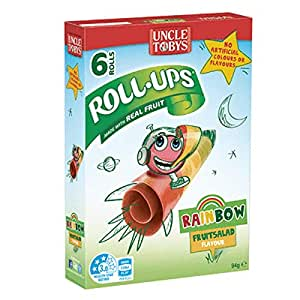 Uncle Toby's Roll Ups Roll-Ups Rainbow Fruit Salad Flavour 6 rolls per pack of 94g