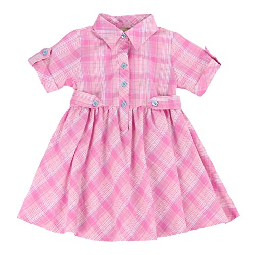 MARIA ELENA - Toddlers and Girls Light Cotton Sweetheart Shirt Dress in Pink Plaid 6 ()
