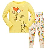 Qtake Fashion Girls Pajamas Children Clothes Set Deer 100% Cotton Little Kids Pjs Sleepwear (7-8 Years, Yellow)