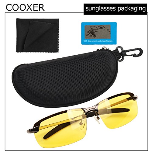 7ef8650f820 COOXER Night Driving Glasses Anti-glare Polarized - HD Vision Sports Style Yellow  Tint Polycarbonate