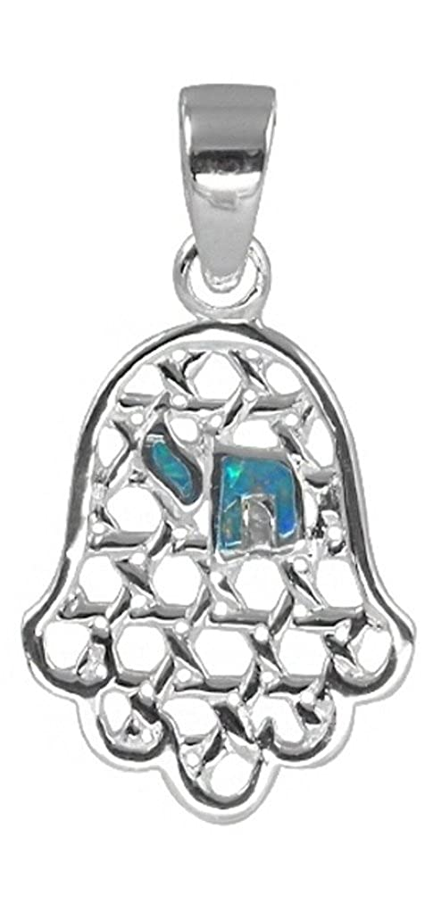 Sterling Silver /& Simulated Opal Chai Pendant BTS-NP4605//OP