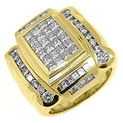 18k Yellow Gold Men's Invisible Princess Cut Diamond Ring 3.41 Carats