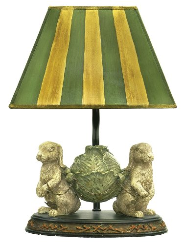 Sterling 91-277 Bunnies Bearing Dinner Table Lamp, 6 by 14-Inch, Alman Antique White/Green - Green Lamp Bunny Accent