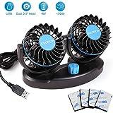 Car Fan with 2 Speeds, Adjustable USB Mini Fan, Table Fan DC 5V Dual Head Rotatable