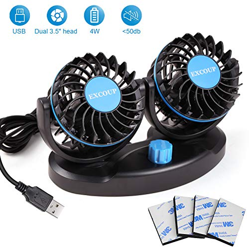 EXCOUP Car Fan with 2 Speeds, Adjustable USB Mini Fan, Table Fan DC 5V Dual Head Rotatable