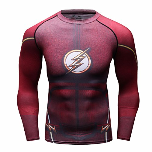 Red Plume Men's Compression Sports Shirt Cool Lightning/Flash Running Long Sleeve Tee (M, Red) ()
