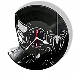 Rosidesignstudio Spiderman Comics character superhero vinyl wall clock- Modern room decor - Unique Handmade gift for friends and someone you love