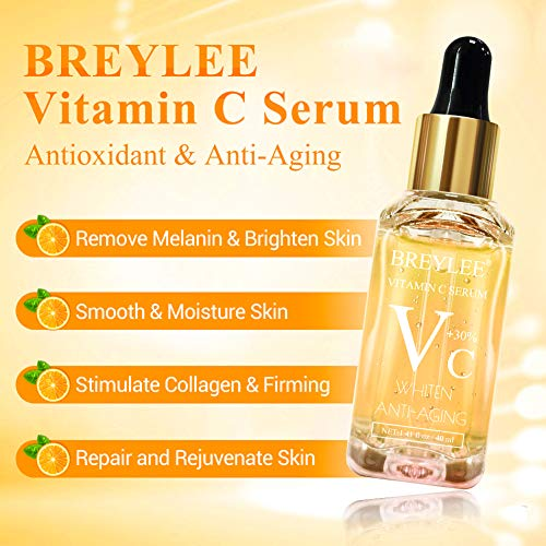 510M7SzCMRL - Vitamin C Serum, BREYLEE Anti-Aging Facial Serum with Hyaluronic Acid, Retinol, and Vitamin E Moisturizing Face Serum for Skin Whiten Skin Brighten, Fades Sun Spots (40ml, 1.41oz)