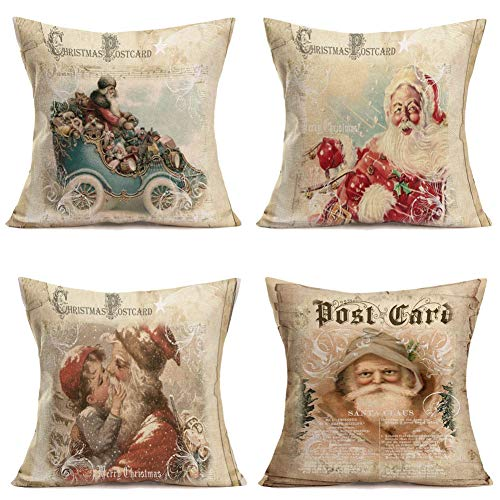 Retro Vintage Background Christmas Postcard with Christmas Santa Claus Throw Pillow Covers Cotton Linen Pillowcase Cushion Cover Home Xmas Party Decor Square 18