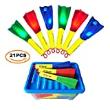 US Sense 21 Pack LED Foam Finger Rockets Slingshot Toys for Boys Girls Party Favors Gift with Storage Box,Fun Outdoor Group Camping Beach Garden Pool Games