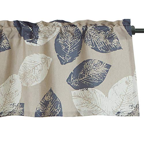 VOGOL Navy Leaves Print Faux Linen Curtains Valance, Rod Pocket Valance for Windows, 52 x 18 Inch ()