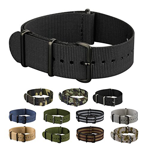 INFANTRY Nato Nylon Canvas Fabric 4 Rings Watch Strap Band Stainless Steel Buckle with 20mm 22mm