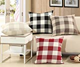 ASLD 4 Sets Linen Cotton Pillow Cover Cushion Pillowcase, 18'' x 18'' Throw Pillow Covers for Car Office Sofa Hotel Bedroom Chairs Home Decoration