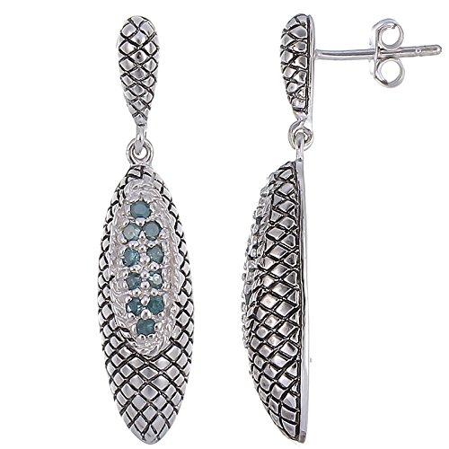 Diamond Antique Earring - Sterling Silver Green Diamond Dangle Earrings Antique Look (1/4 CT)