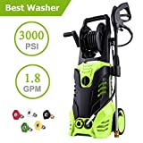guiok 3000PSI High Pressure Electric Washer Max Pressure 1.8GPM Power Hose Gun + Winding Shaft 32.8ft Cord + 5 Interchangeable Nozzles Review