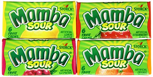 Mamba Sour Fruit Chews, 0.88-Ounce Packages (Pack of 96)