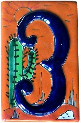 Desert Talavera Ceramic House Number Three Fine Crafts & Imports CECOMINOD055767
