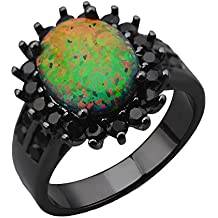 """BALA ♥Black Opal Ring♥ Statement """"Created with Onyx"""" Black Gold Filled Rings for Women Diamond Engagement Wedding Party Ring Round Big Fire Opal US Size 6 7 8 9"""