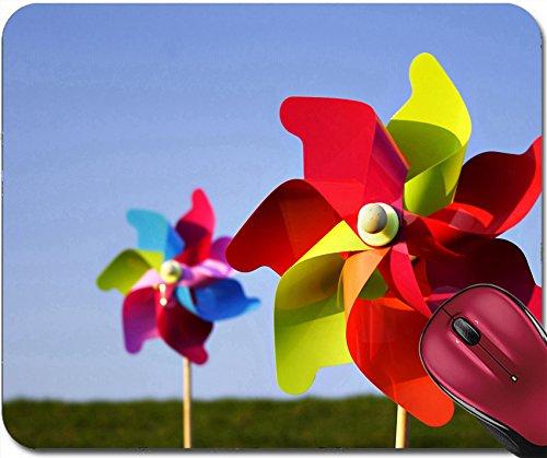 Liili Mousepad two colorful pinwheels in bright sunlight on a meadow blue sky (Pinwheels Crochet)