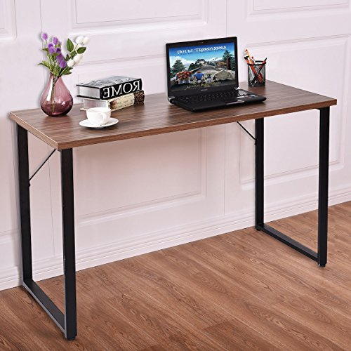 TANGKULA Writing Table Simple Modern Wood PC Laptop Table Dining Table Sturdy Durable Computer Desk Multi-Function Workstation Metal Frame Home Office Furniture (Brown) by TANGKULA