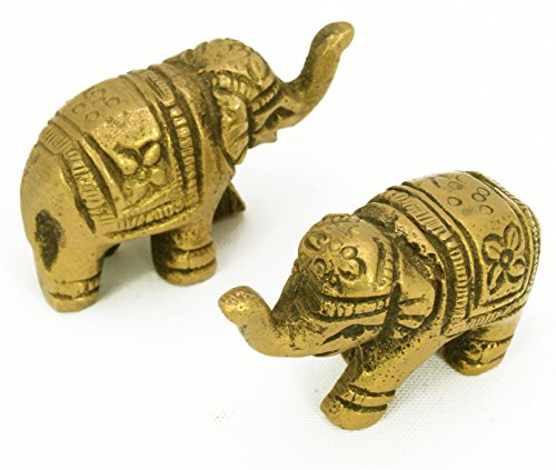 (Pair 2 Pcs Vintage Style Indian Brass Elephant Figurines)