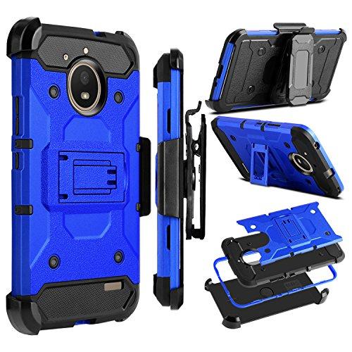 Motorola Moto E4 Case, Moto E 4th Generation Case, Zenic Heavy Duty Shockproof Hybrid Full-Body Protection Case Cover with Swivel Belt Clip and Kickstand for Moto E4 (Blue)