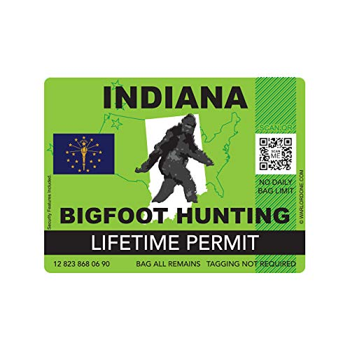 fagraphix Indiana Bigfoot Hunting Permit Sticker Die Cut Decal Sasquatch Lifetime FA Vinyl - 4.00 Wide