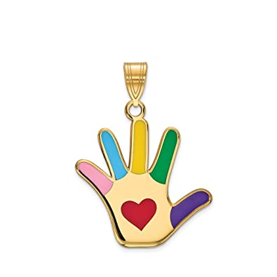 Amazon ice carats 14kt yellow gold enameled autism heart ice carats 14kt yellow gold enameled autism heart handprint pendant charm necklace awarenes fine jewelry ideal aloadofball Gallery