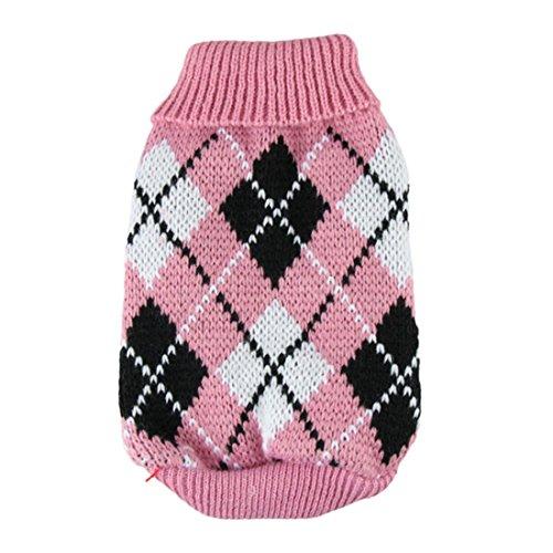 Coper Winter Puppy Small Dog Baby Fashion Casual Warm Sweater Crochet (Pink, XS)