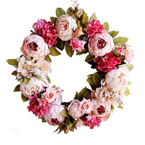 edtara simulación coronas de Navidad guirnalda Floral aro boda decoración hogar colgante de pared flores para pared para...