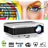 WIKISH Smart Bluetooth Video Projector 4600 Lumen,Wireless Wifi Home Theater Support 1080p 50000 Hrs LED Lamp Keystone Correction USB HDMI AV RCA for Outdoor Movie Night Gaming Laptop Tablet Xbox Wii
