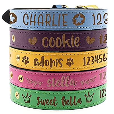 Personalized Leather Engraved Dog Collars - 3 Adjustable Sizes, 5 Colors and 10 Designs - Personalized Cat Collars - Leather Pet Collar Engraved with Name and Phone Number for Dogs and Cats