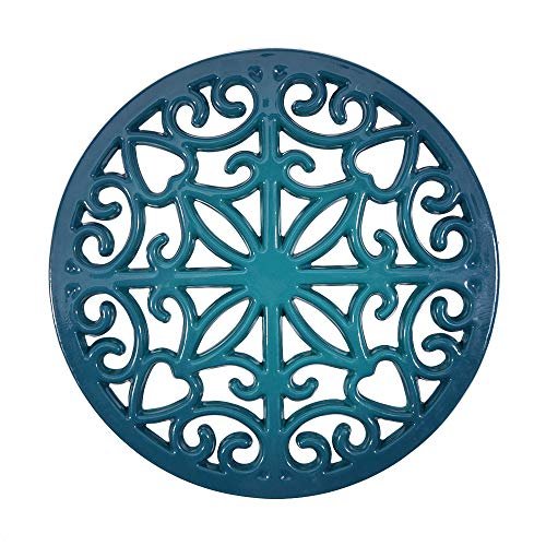 Sungmor Heavy Duty Enamel Cast Iron Round Trivet,Rustproof Bright Metal Racks Stands Holders for Hot Pans or Teapot,Kitchen or Dinning Table Decorations